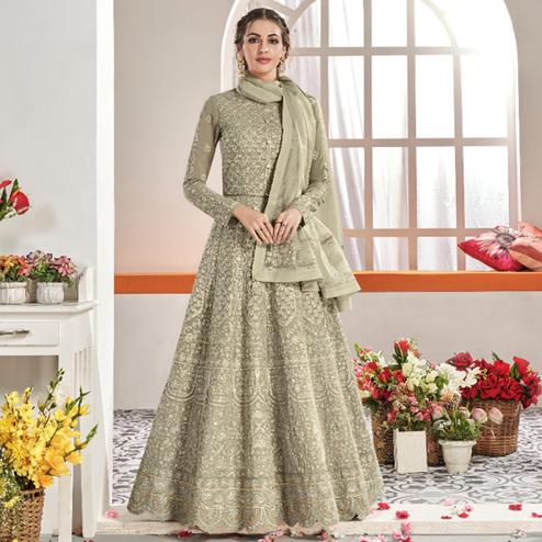 Attractive Grey Colored Partywear Embroidered Georgette Anarkali Suit
