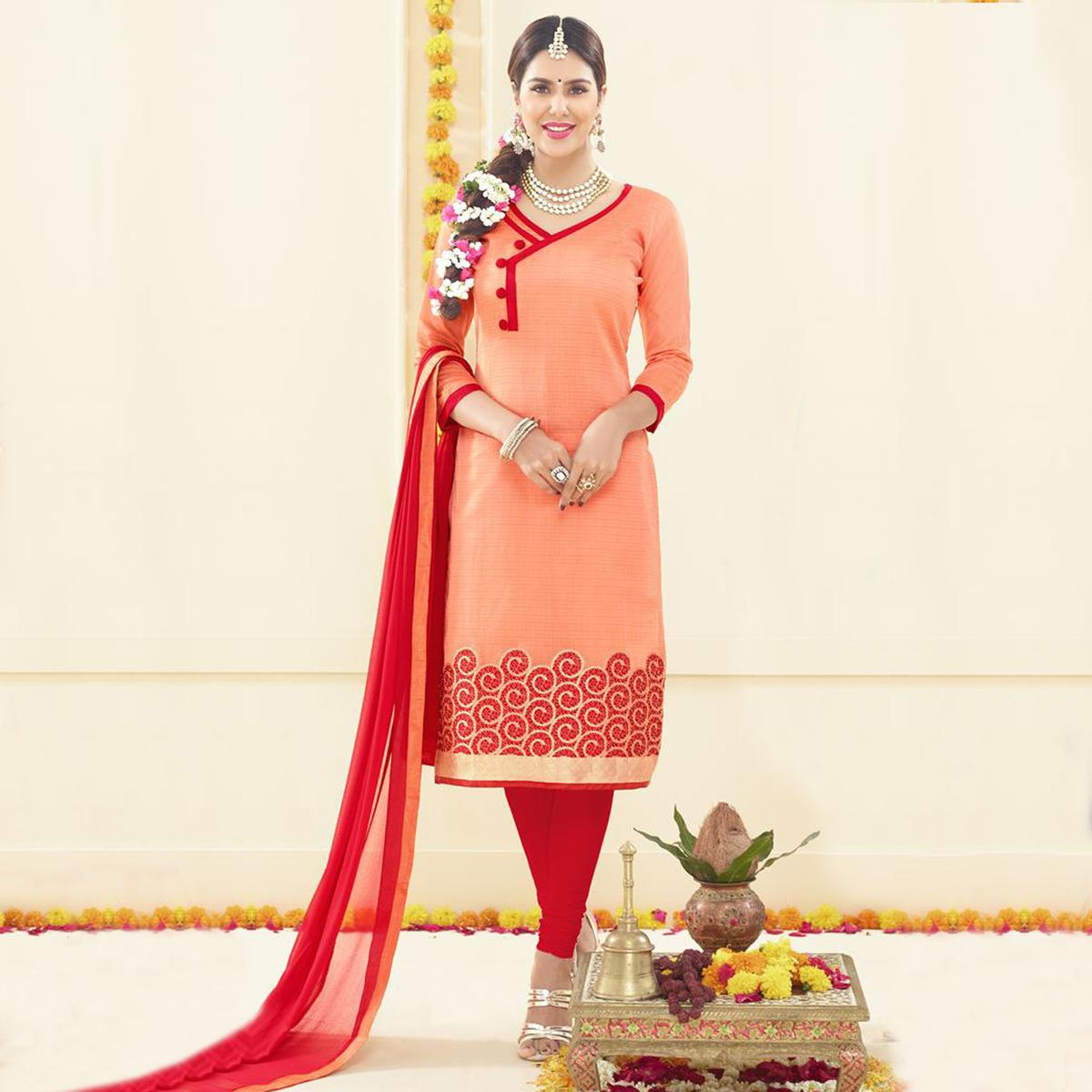 Orange Floral Embroidered Salwar Suit