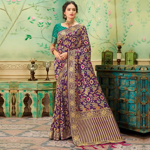 Fantastic Purple Colored Festive Wear Woven Banarasi Silk Saree