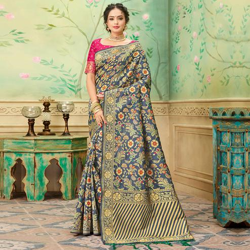 Gorgeous Grey Colored Festive Wear Woven Banarasi Silk Saree