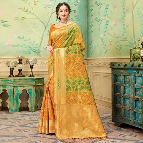 Blissful Yellow-Green Colored Festive Wear Woven Banarasi Silk Saree