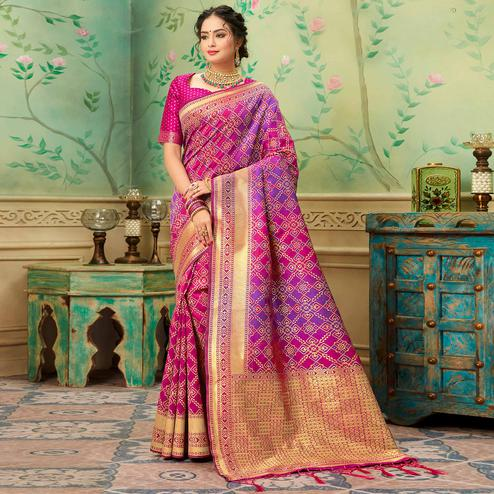 Ideal Pink-Purple Colored Festive Wear Woven Banarasi Silk Saree