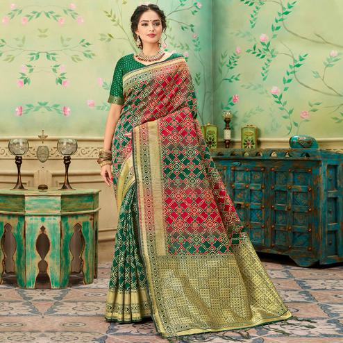 Imposing Green-Red Colored Festive Wear Woven Banarasi Silk Saree