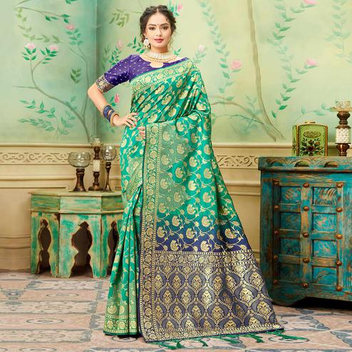 Impressive Turquoise Green Colored Festive Wear Woven Banarasi Silk Saree