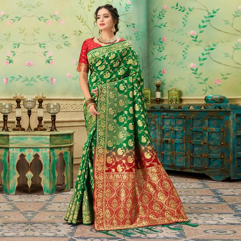 Pleasance Green Colored Festive Wear Woven Banarasi Silk Saree