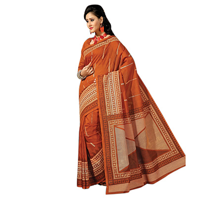 Orange Geometric Print Casual Saree