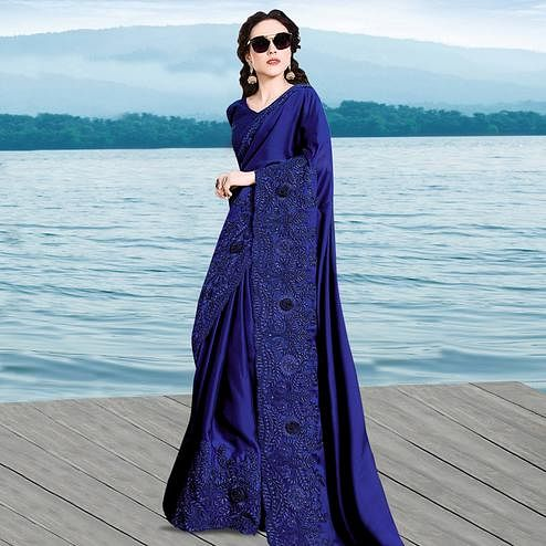 Appealing Navy Blue Colored Partywear Embroidered Georgette Saree