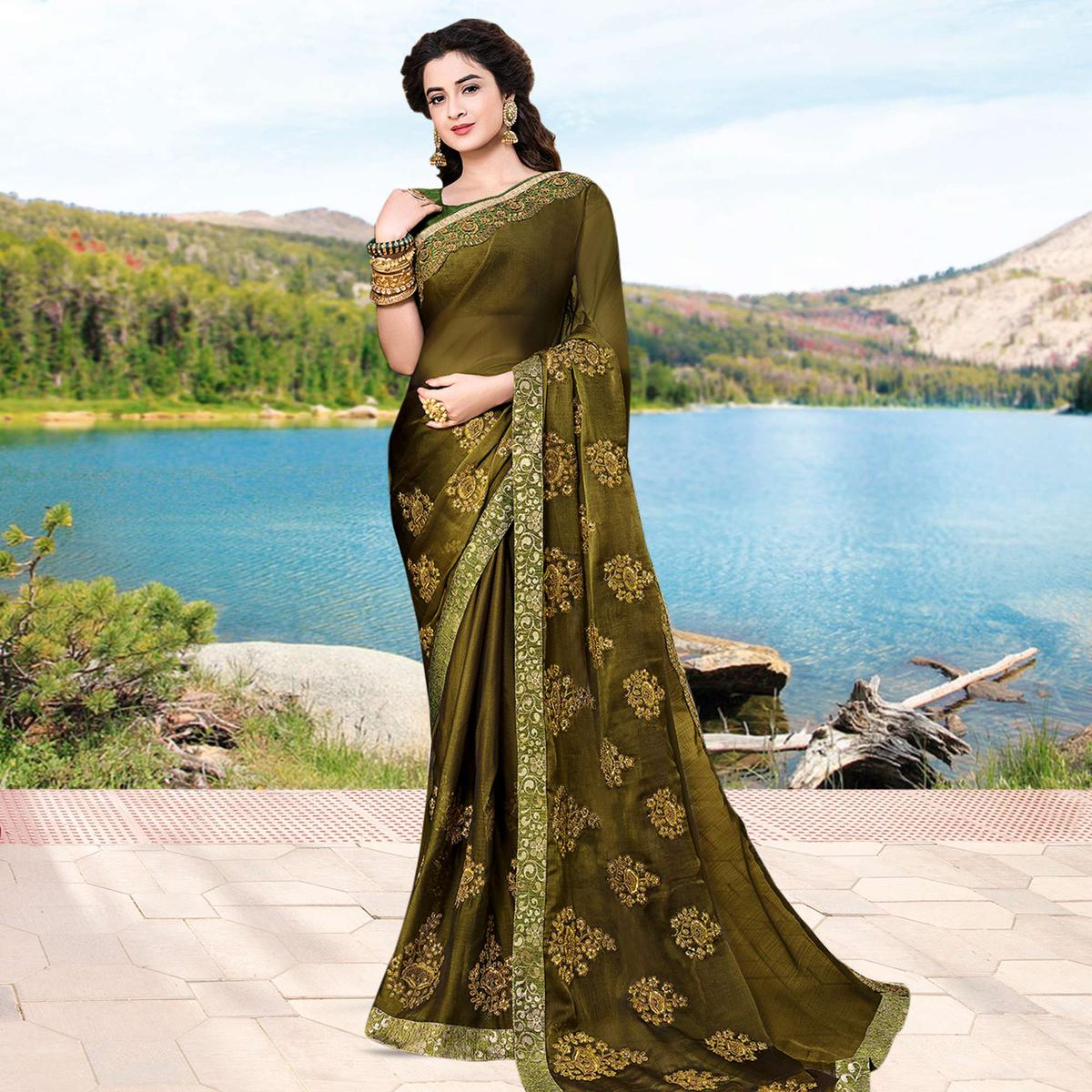 Preferable Mehendi Green Colored Partywear Embroidered Georgette Saree