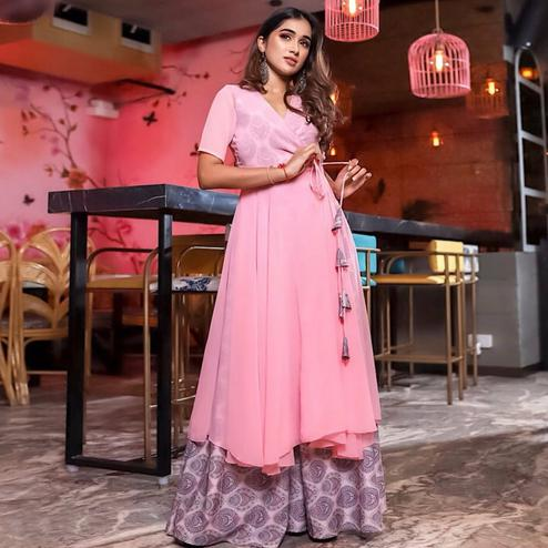 Prominent Pink Colored Partywear Printed Georgette Kurti-Palazzo Set
