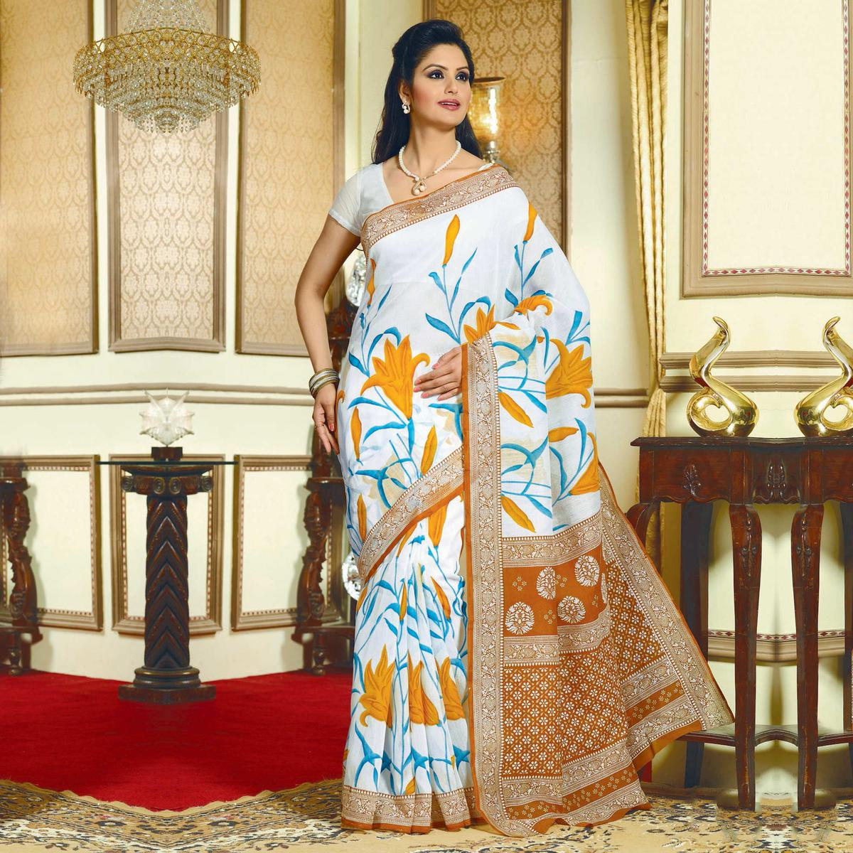 White Floral Print Casual Saree