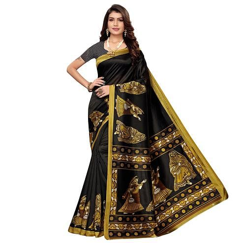 Trendy Black Colored Casual Printed Art Silk Saree