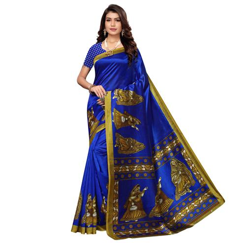 Elegant Blue Colored Casual Printed Art Silk Saree
