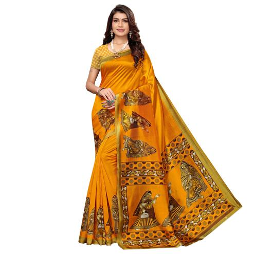 Pleasant Yellow Colored Casual Printed Art Silk Saree