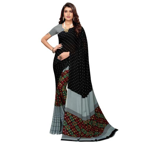 Opulent Black-Grey Colored Casual Printed Georgette Saree