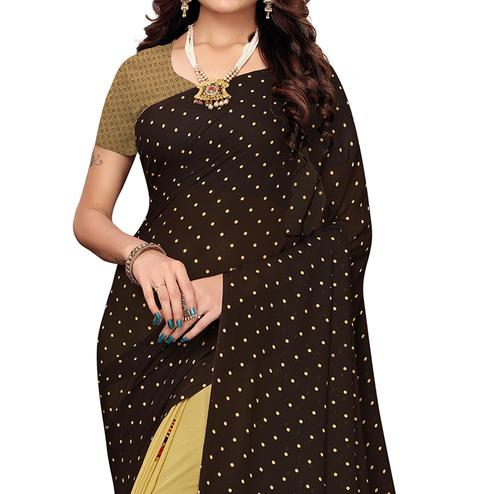 Energetic Brown-Mustard Colored Casual Printed Georgette Saree