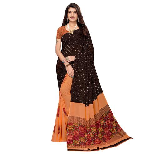 Glowing Brown-Orange Colored Casual Printed Georgette Saree