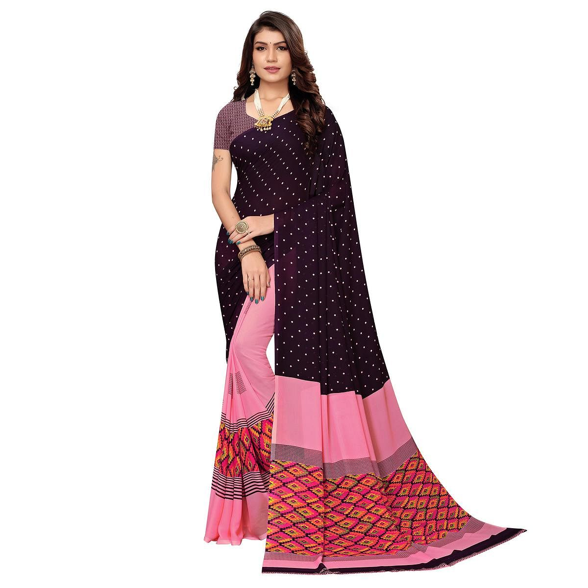 Exceptional Purple-Pink Colored Casual Printed Georgette Saree
