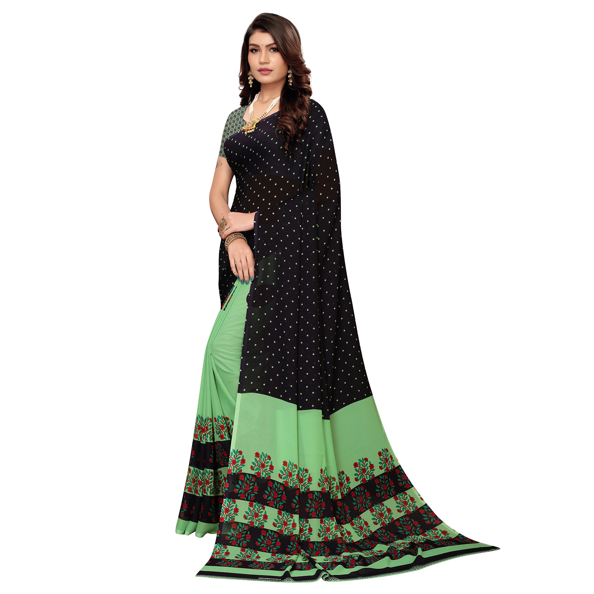 Gleaming Black-Pista Green Colored Casual Printed Georgette Saree
