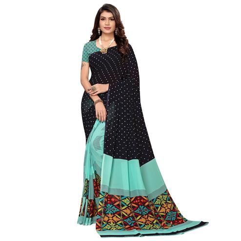 Mesmeric Black-Aqua Blue Colored Casual Printed Georgette Saree