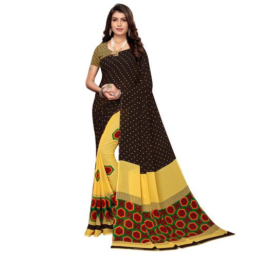 Unique Brown-Yellow Colored Casual Printed Georgette Saree