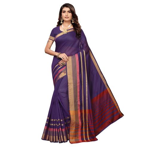 Intricate Navy Blue Colored Festive Wear Woven Art Silk Saree
