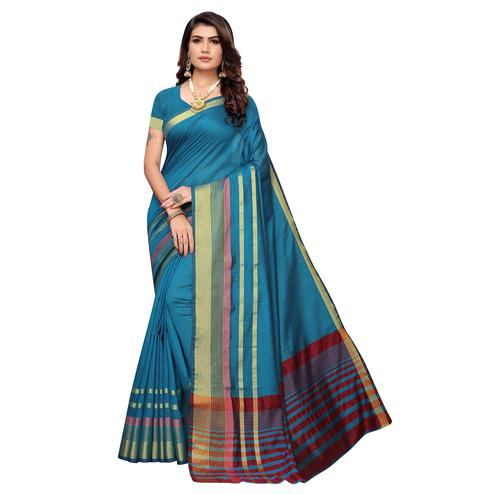 Arresting Rama Blue Colored Festive Wear Woven Art Silk Saree