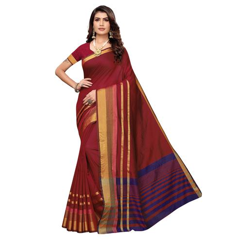 Desirable Maroon Colored Festive Wear Woven Art Silk Saree