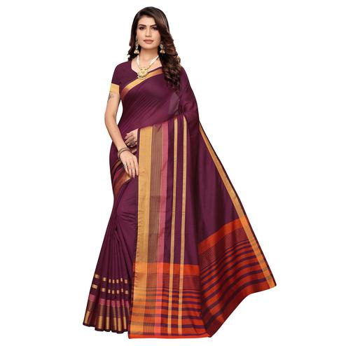 Exotic Wine Colored Festive Wear Woven Art Silk Saree