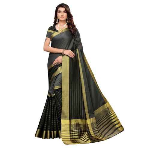 Sophisticated Grey Colored Festive Wear Woven Art Silk Saree