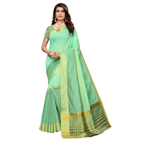 Trendy Pista Green Colored Festive Wear Woven Art Silk Saree