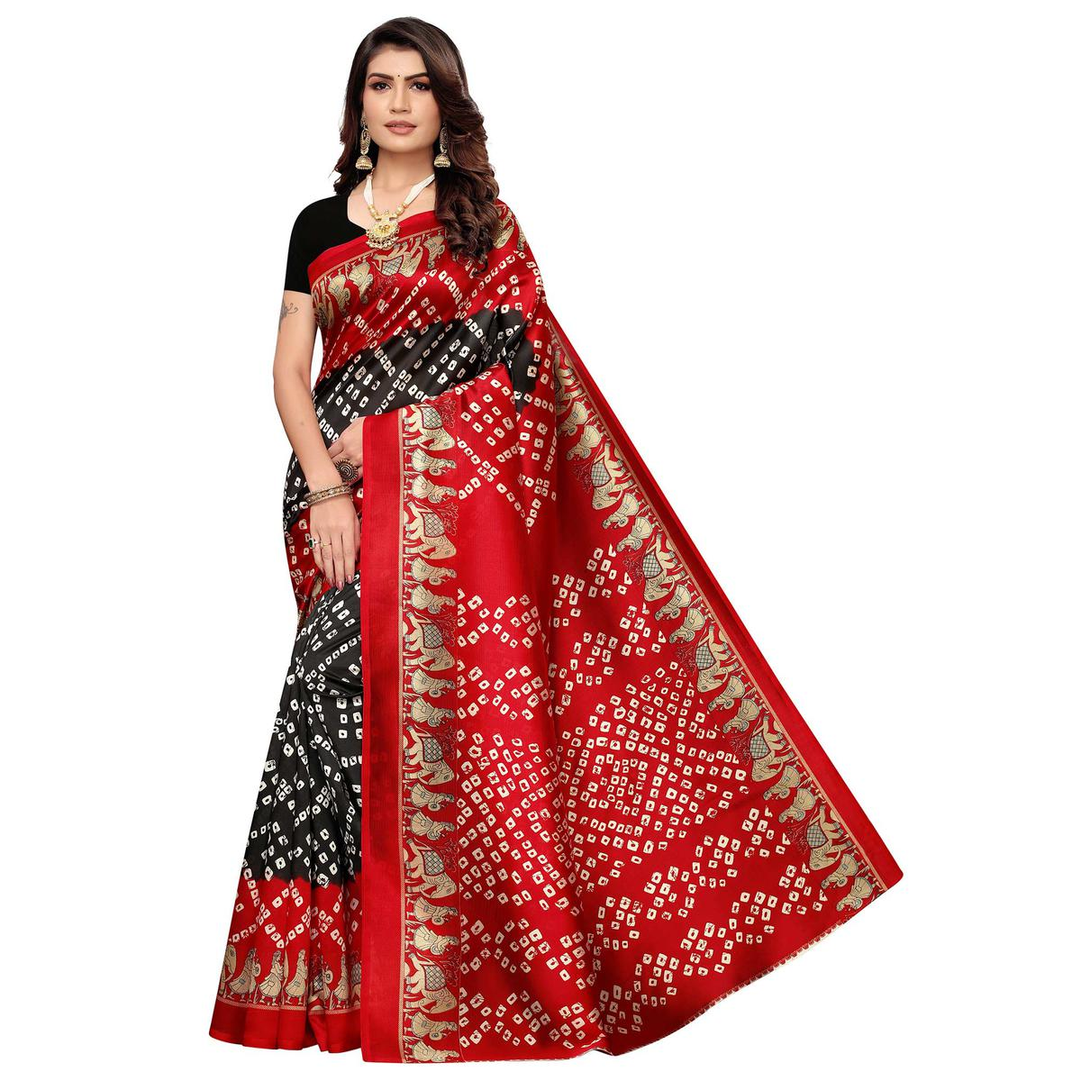 Pleasant Black - Red Colored Casual Wear Printed Art Silk Saree