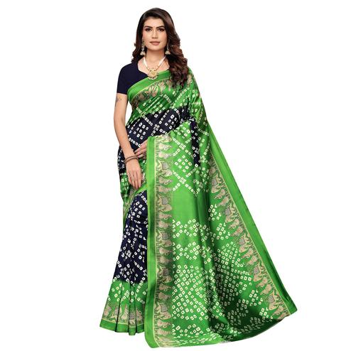 Opulent Navy Blue - Green Colored Casual Wear Printed Art Silk Saree