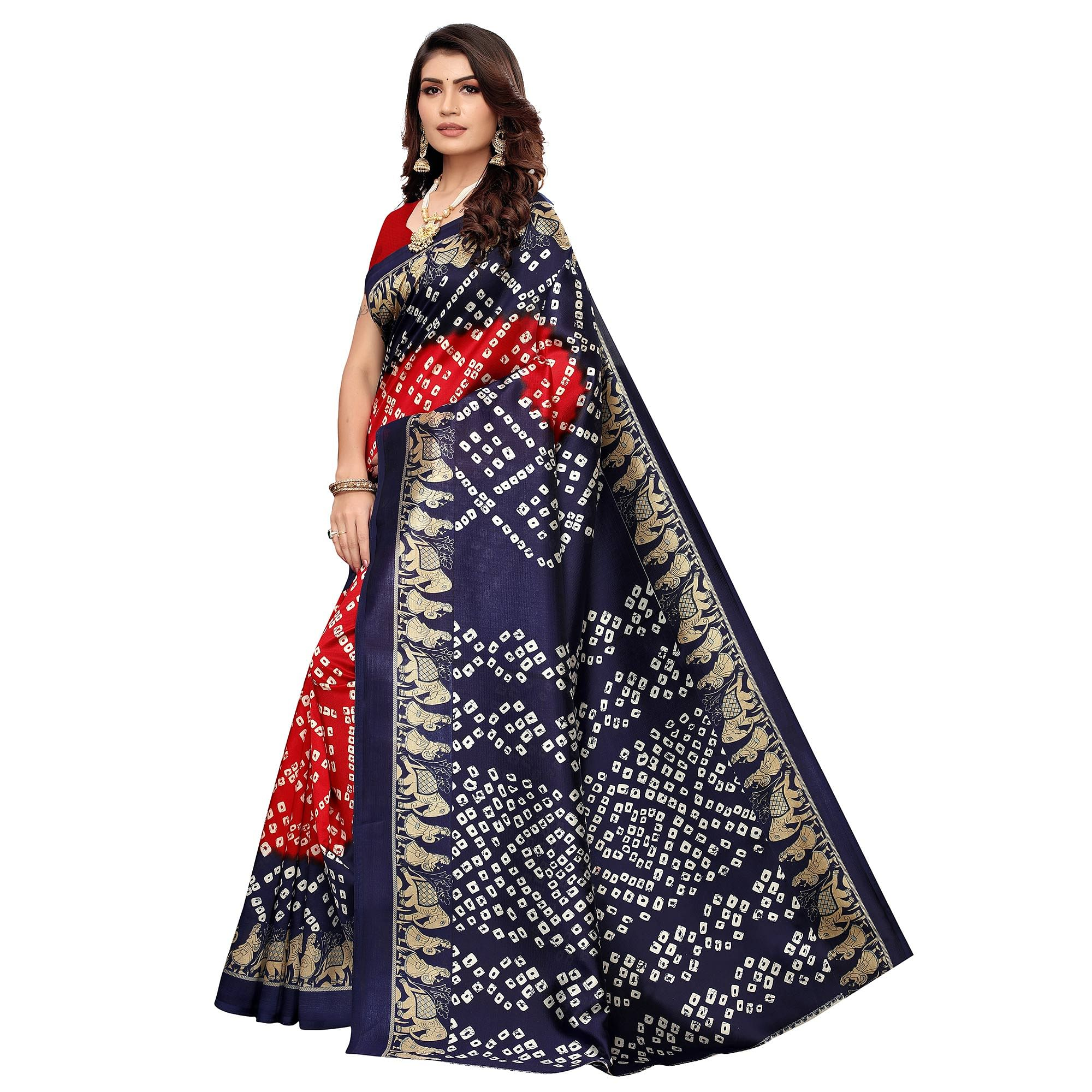Energetic Red - Navy Blue Colored Casual Wear Printed Art Silk Saree