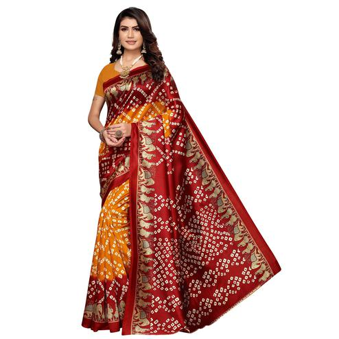 Glowing Orange - Maroon Colored Casual Wear Printed Art Silk Saree