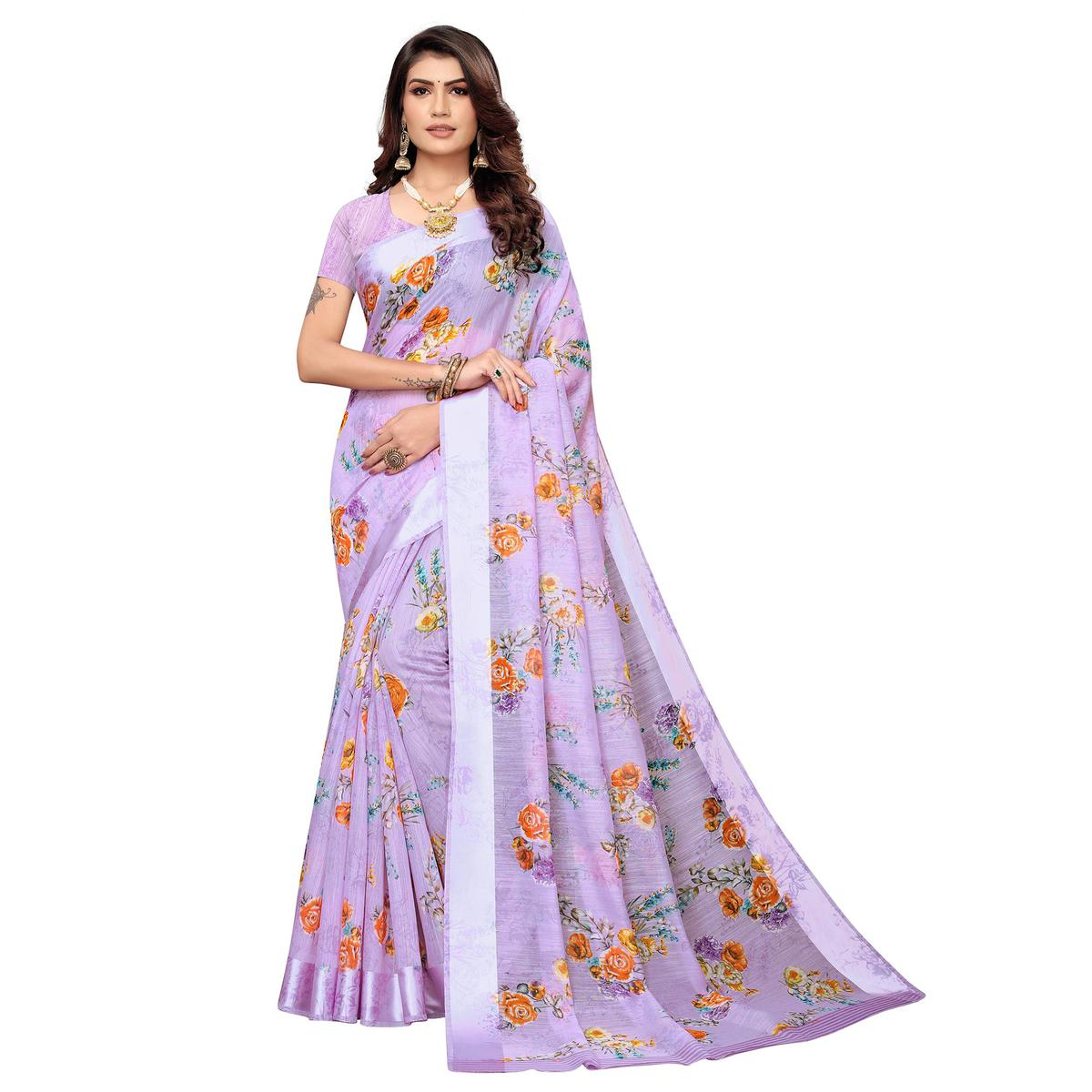 Exceptional Lavender Colored Casual Wear Printed Satin Saree