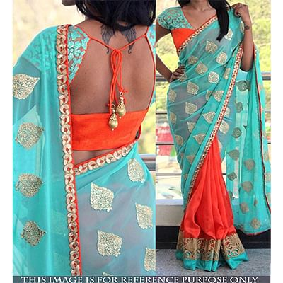 Cyan - Orange Georgette Half Saree