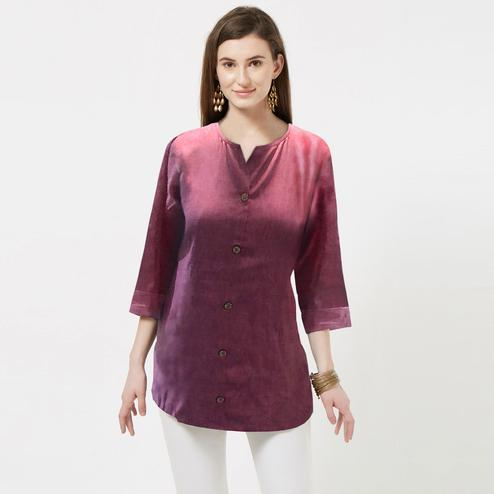 Excellent Pink Colored Casual Wear Rayon Top
