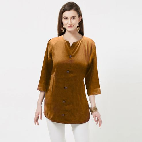 Preferable Yellow Colored Casual Wear Rayon Top