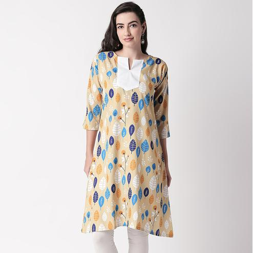 Ethnic Beige Colored Casual Wear Printed Crepe Kurti
