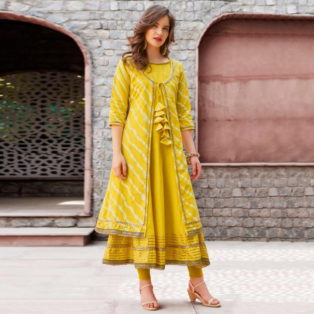 Marvellous Yellow Colored Partywear Printed Cotton Jacket Style Kurti
