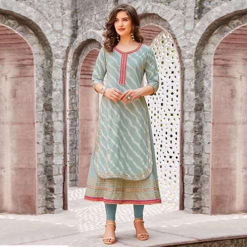 Flamboyant Grey Colored Partywear Printed Cotton Kurti