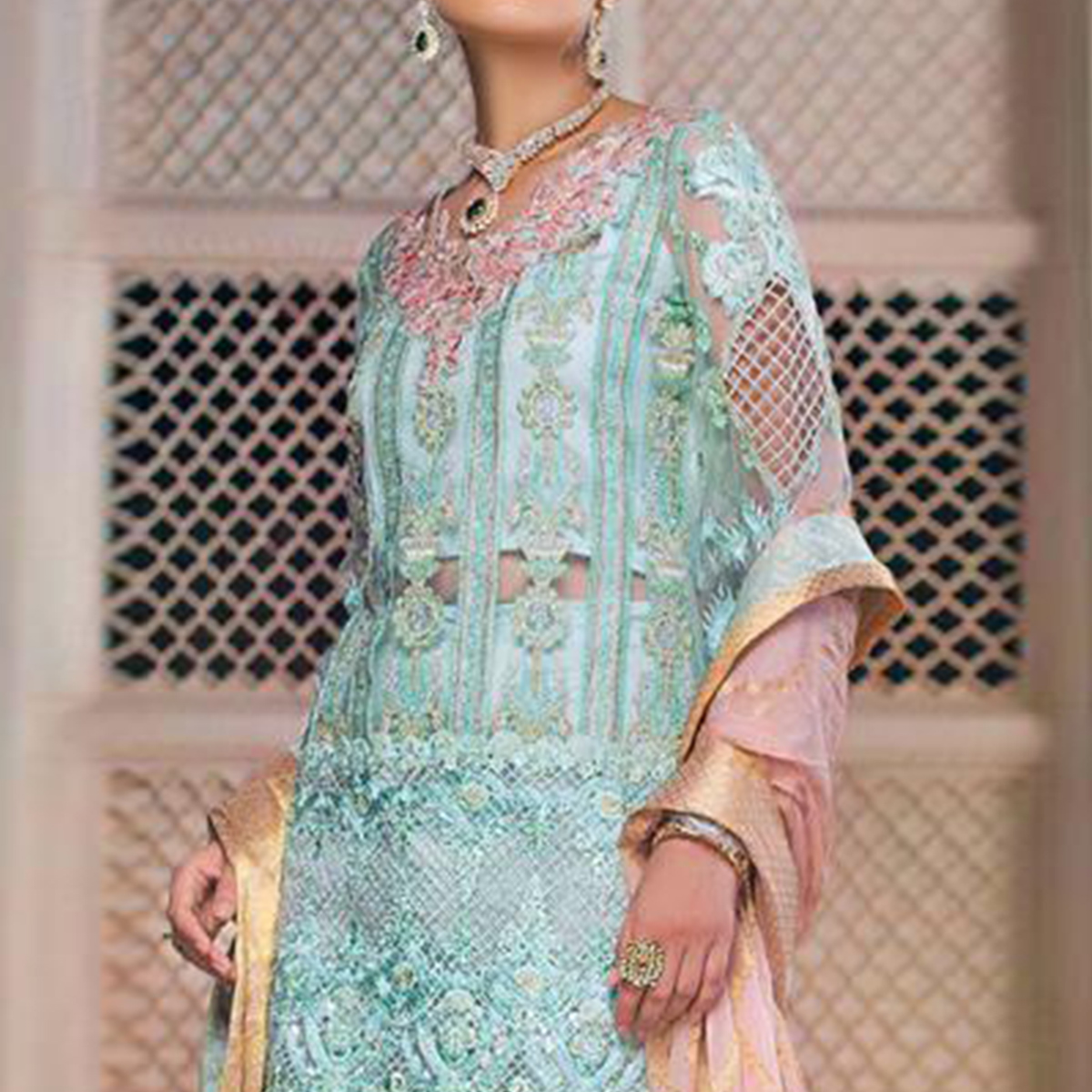 Classy Aqua Blue Colored Partywear Embroidered Net-Georgette Pant Style Suit