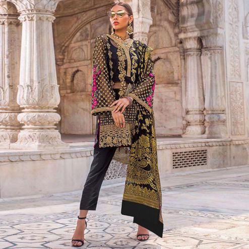 Appealing Black Colored Partywear Embroidered Net-Georgette Pant Style Suit