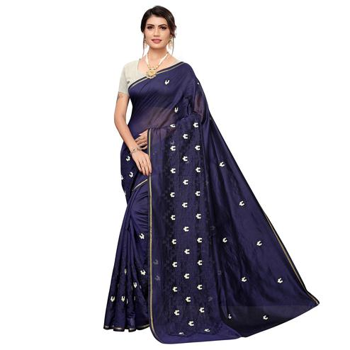 Pleasant Navy Blue Colored Party Wear Embroidered Chanderi Saree