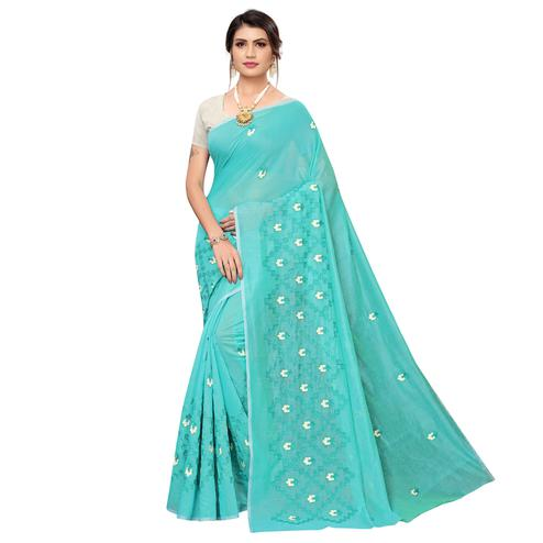 Opulent Aqua Blue Colored Party Wear Embroidered Chanderi Saree