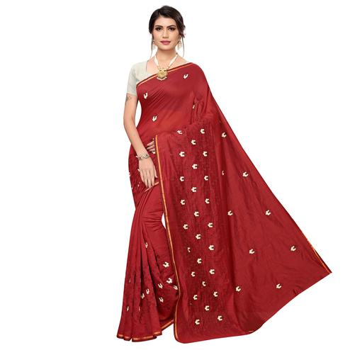 Energetic Red Colored Party Wear Embroidered Chanderi Saree