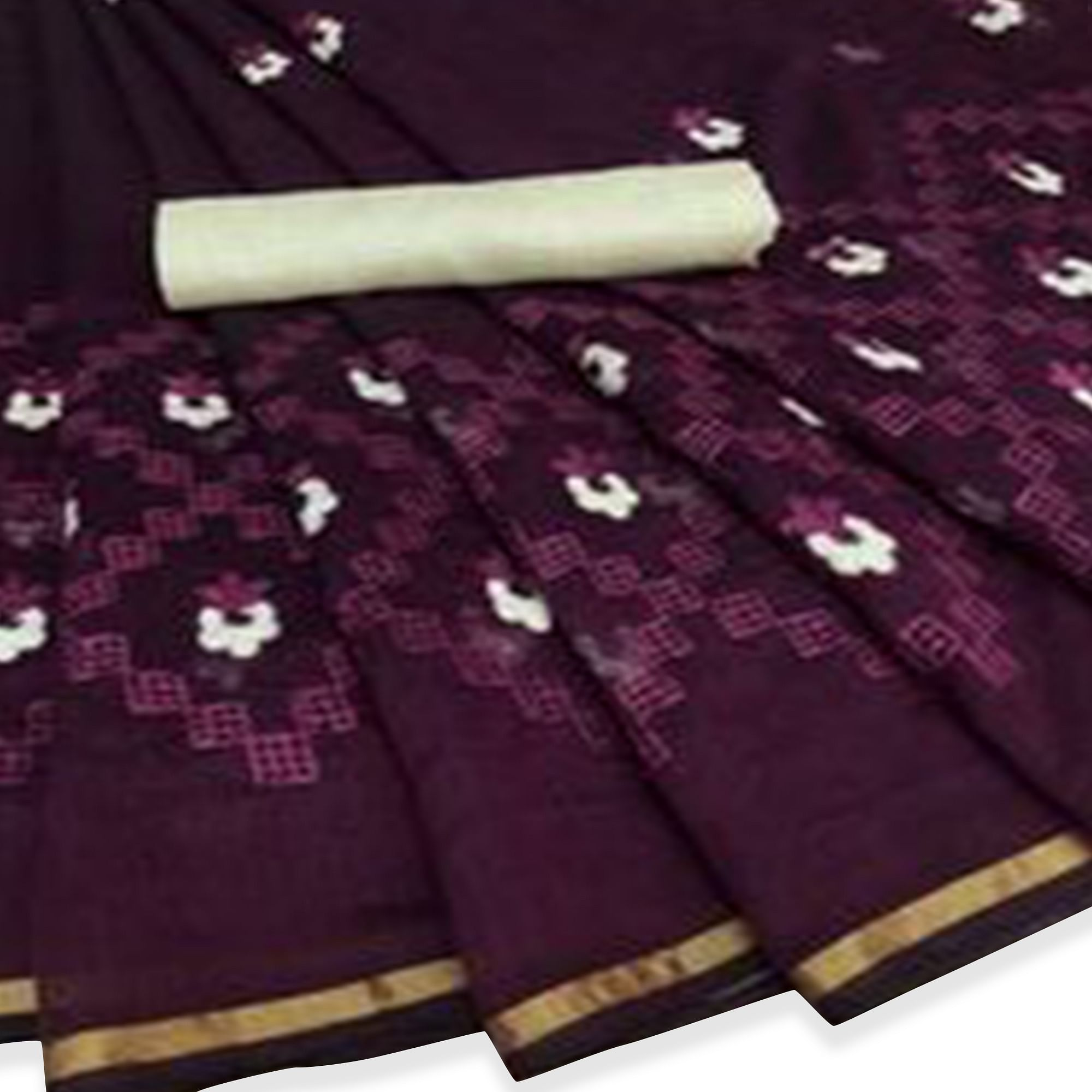 Glowing Dark Purple Colored Party Wear Embroidered Chanderi Saree