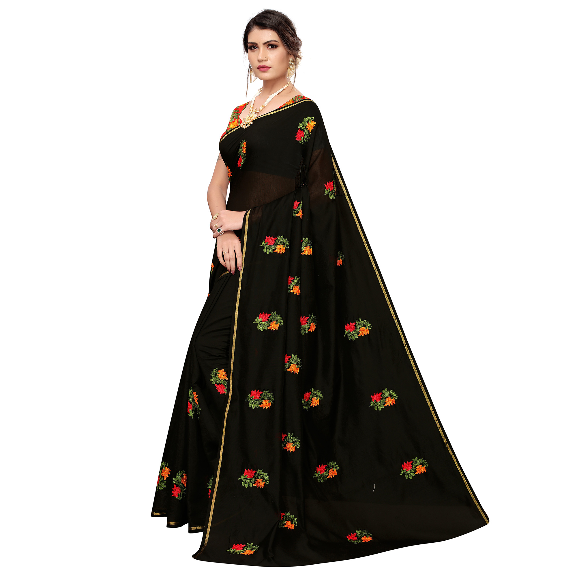 Exceptional Black Colored Party Wear Embroidered Chanderi Saree