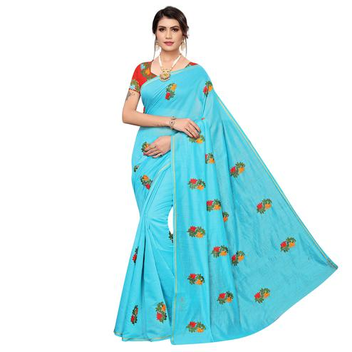 Gleaming Sky Blue Colored Party Wear Embroidered Chanderi Saree