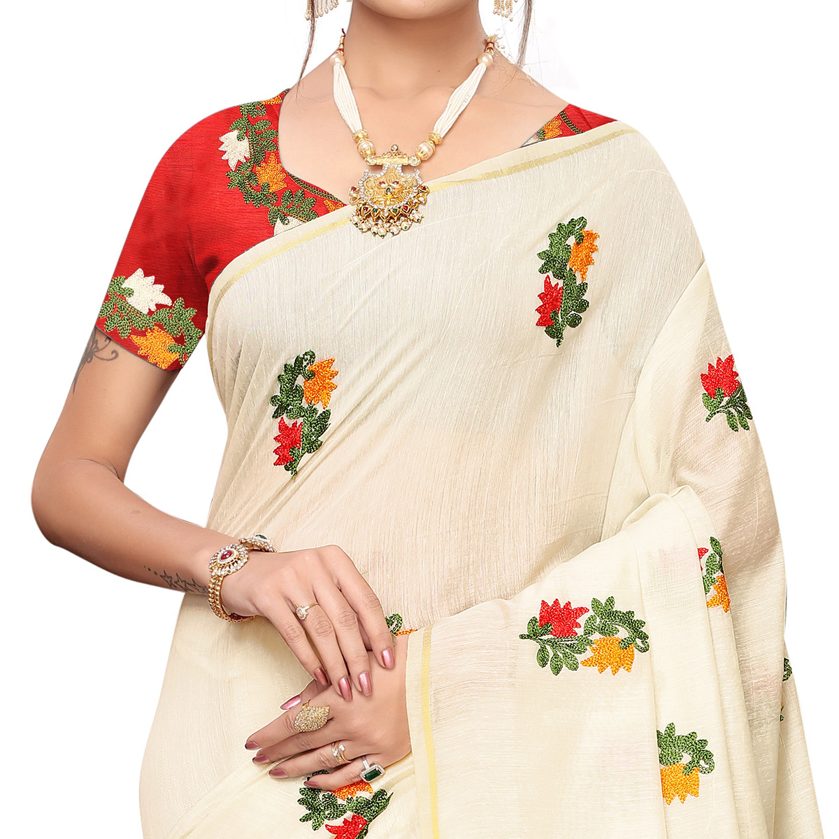 Mesmeric Off White Colored Party Wear Embroidered Chanderi Saree